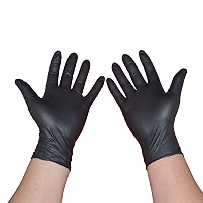 Lurrose 100PCS Disposable Black Nitrile Gloves Latex Free Gloves Medical Powder Free Nitrile Gloves Tattoos Piercing Gloves Examination Gloves Size M
