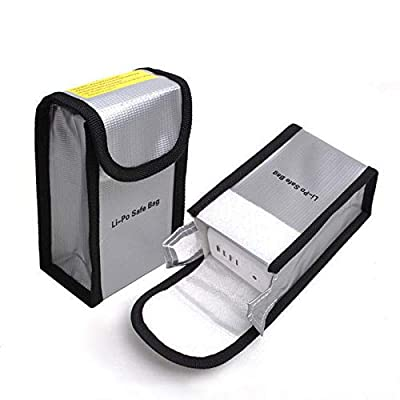 Suncentech Fireproof bag LiPo Battery Bag for DJI Mavic Pro DJI Phantom 3 Phantom 4, Battery Safe Storage Bag LiPo Guard Pouch, 2 PCs (150 x 90 x 55 mm)