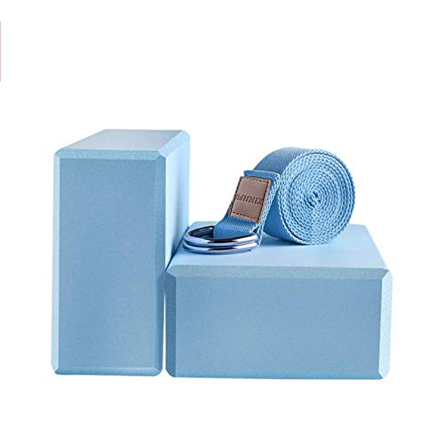 WEARRR Eva Yoga Block Set Pilates Ziegel Fitness Gürtel Set für Übung Training Fitness Training Block Ziegel Stretching Gürtel Yoga Bolster (Color : Blue 1.83m)