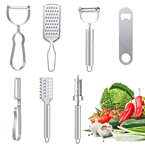 nhnhn Vegetable Peelers for Kitchen, Y-Shaped and I-Shaped Peeler for Potato, Carrot, Apple, Veggie, Fruit, with Ergonomic Non-Slip Handle & Sharp Blade, Good Grip & Durable (7 Pcs)