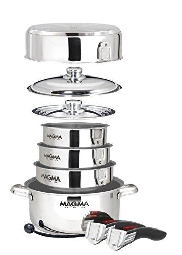 MAGMA 10 pièces gigogne Gourmet Induction Batterie de Cuisine en Acier Inoxydable avec Ceramica antiadhésif, Chrome