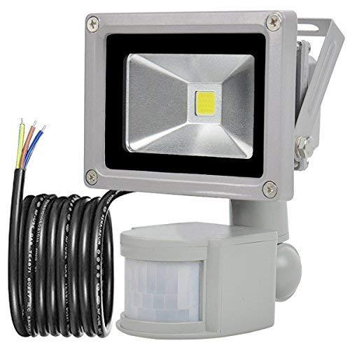 GLW 10W Foco LED con Sensor Movimiento,blanco frío 6000K,240V,Línea de 1 metro,Impermeable IP65 Luz de seguridad, Iluminación de Exterior Seguridad,800LM,PIR sensor de movimiento proyector Reflector