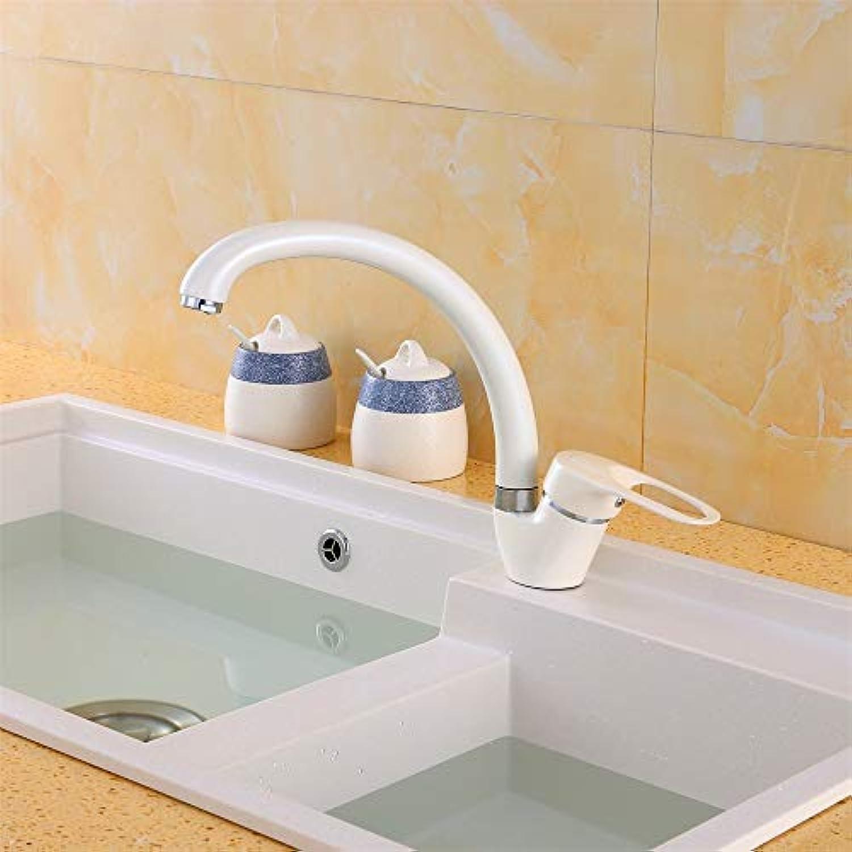 SLTYSCF wasserhahn Weie Farbe-Küchen-Hahn-Biegungs-Rohr-360-Grad-Drehung mit Wasseraufbereitung kennzeichnet einzelnen Griff