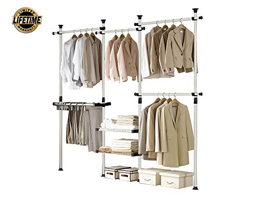 PRINCE HANGER, Deluxe Pants & Shelf Hanger, Holds 60kg(132LB) per Horizontal bar, Heavy Duty, 32mm Vertical Pole, Clothing Rack, Clothes Organizer, Pants Hanger, PHUS-0052, Made in Korea