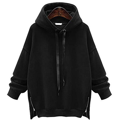 LYLXS Damen Kapuzenpullover Jacke Hoodie Oversized Parka Kapuzenjacke in Mehreren Farben und Größen (EU XL(Asian 2XL),schwarz)