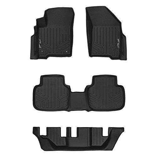 MAXLINER Floor Mats 3 Row Liner Set Black for 2012-2018 Dodge Journey with 1st Row Dual Floor Hooks