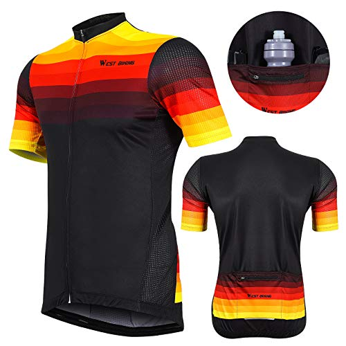 West Biking Men's Cycling Jersey Short Sleeve Full Zipper Summer Biking Shirts Breathable Quick Dry Clothing with 4 Pockets Gold