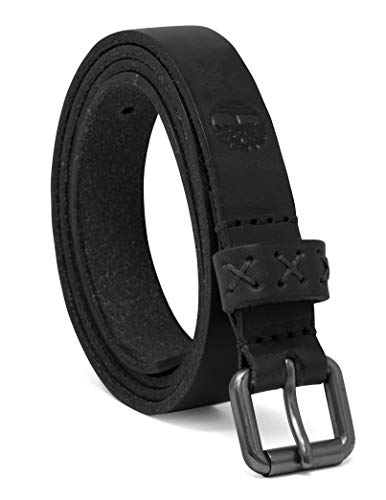 Timberland Women's Casual Leather Belt, Black (Skinny), Large (33-37)