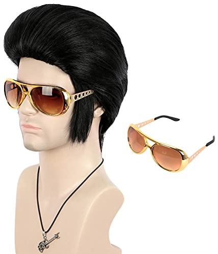VGbeaty Men Black Short Pompadour Wig with Sideburns Cool Bangs Rock Theme Party Costume Wig