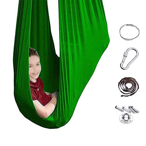 Swing De Terapia Elástica - Para Niños Sensor Swing Silling Asiento Colgante, Swing De Yoga Anti-gravedad Para Niños Con Autismo ADHD Aspergers Integración Sensorial green-280 * 100CM