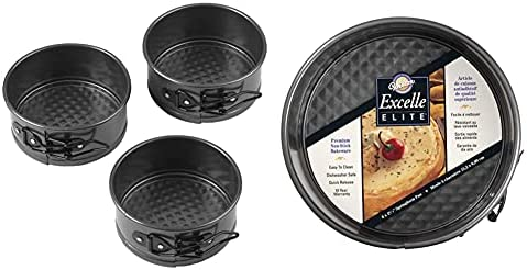 Wilton 4-Inch Mini Springform Pans for Mini Cheesecakes, Pizzas and Quiches, Durable Non-Stick Surface, Set 3-Piece