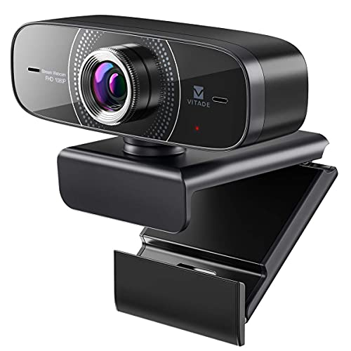 Webcam 1080P mit Mikrofon 30fps HD PC Kamera,Vitade 826M USB 2.0 Web Cam mit 110 ° Weitwinkel Lichtkorrektur für Video Chat Live Streaming Kompatibel mit Laptop Desktop Mac Windows Skype Twitch Zoom