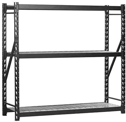 """EDSAL 7224PRBWWD3 77"""" W x 24"""" D x 72"""" H Steel Welded Storage Rack, Black - 2 Pack"""
