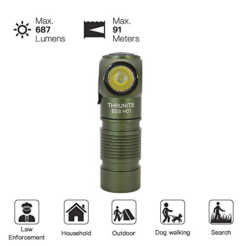 THRUNITE BSS H01 Headlamp Super Bright Head Torch 687 Lumen Rechargeable Head Light 16340 Battery Included Flashlight for Walking, Outdoor, Camping