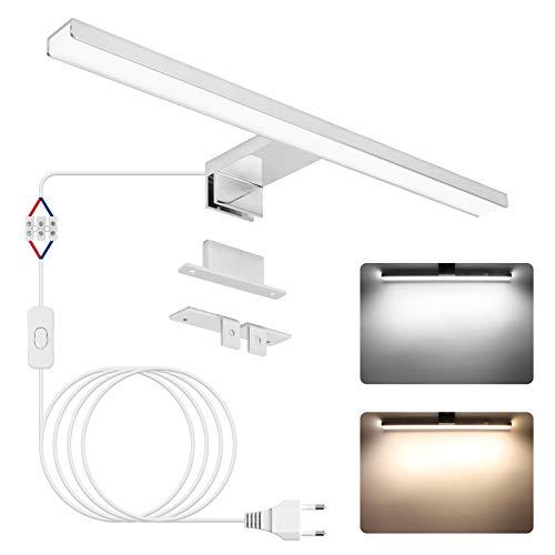 Lampada da specchio a LED, APONUO Lampada da parete con illuminazione frontale per specchio da trucco 40cm| 4000K | 6000K | 1200lm | 12W | IP44 | Acciaio inossidabile | Luce LED