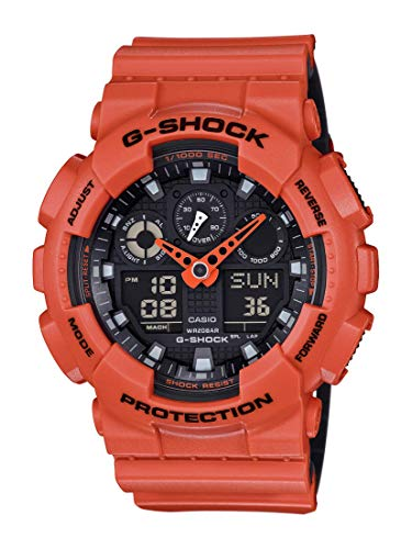 Casio G-Shock XL Series Quartz Sport Watch Resistant Strap, Orange/Black, 29.4 (Model: GA100L-4A)