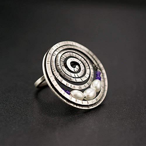 Griechischer Ring, Spiralring, Geschenk Sterling Silber Ring, einzigartiger Ring, großer klobiger Ring, Boho-Ring, einzigartiger Ring