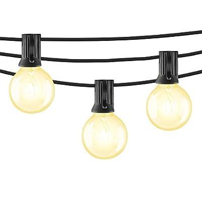 Mr Beams 5W G40 Globe Bulb Incandescent Weatherproof Indoor/Outdoor String Lights, 50 feet, Black