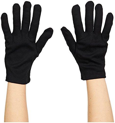 Gants courts noirs adulte coton gloves