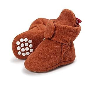 Lacofia Zapatos de calcetín de bebé Invierno Botas Antideslizantes de Suela Blanda para bebé niño o niña marrón 6-12 Meses