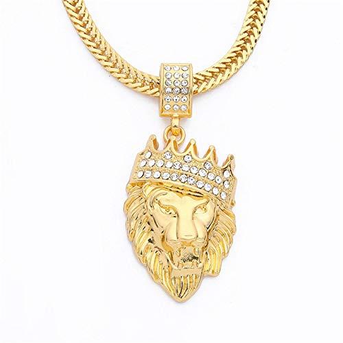 Collar Moda Hip Hop Corona León Cabeza Collar Hombres Hiphop Colgante Boutique Joyería Aspicture