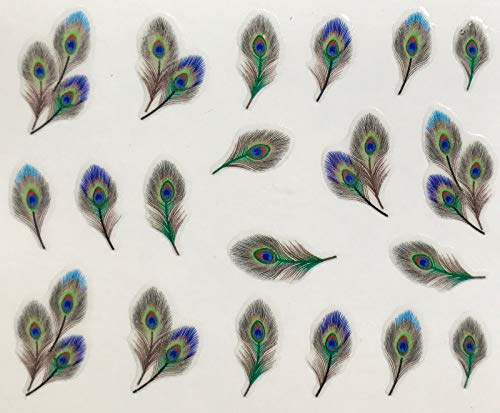 3D Nail Stickers Art Adhesive Transfer Sticker Decals Tips Pretty Peacock Feathers