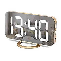 Digital Alarm Clock, Bedroom Decor, LED Mirror Desk Clock Large Display for Heavy Sleepers, Dual USB Charger Ports, 3 Level Brightness, Electronic Clock for Bedroom Home Living Room Office(Gold)