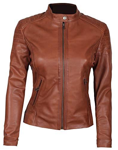 fjackets Brown Leather Jacket Women - Lambskin Leather Jackets for Women   [1300954],Carrie L