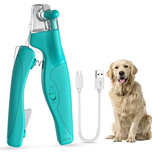 AIIYME LED Light Pet Nail Clippers, Professional Pet Trimmer Dog Cat Pet Nail Clippers with Safety Guard to Avoid Over-Cutting, Grooming Tools with...