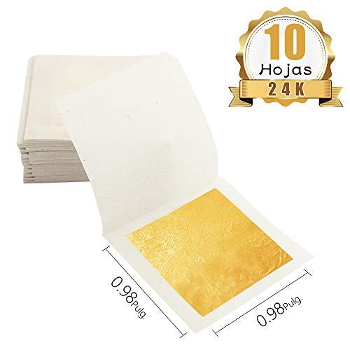 KINNO 24K Pan de Oro Comestible 10 hojas 2.5x2.5cm Pan de Oro Puro Fac