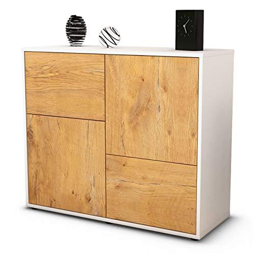 Stil.Zeit Sideboard Carla/Korpus Weiss matt/Front Holz-Design Eiche (92x79x35cm) Push-to-Open Technik