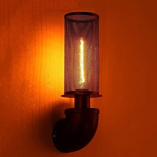 Wlnnes 1-Luz de pared Lámpara de pared Pasillo Aisle Obras Iluminación a prueba de explosiones Moda Increíble Retro Tubería de agua Iron E27 Edison 110-240V Mini Lámpara de pared de jaula de alambre 3