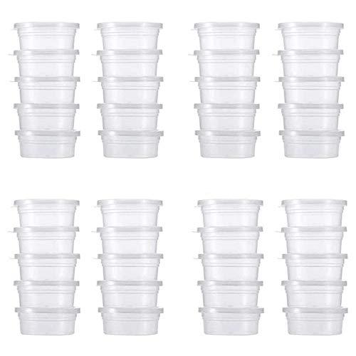 HPiano Recipientes de Almacenamiento con Tapas 40 Piezas, recipientes de Almacenamiento de Bolas de Espuma Reutilizables de plástico con Tapas para Pegamento Agua Cosmética Plastilina Limo