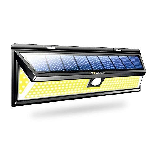 SOLARLY - Lámpara de pared con sensor de movimiento para exteriores - 180 LED Potente y brillante - Fácil de instalar - Diseño discreto - Nueva edición 2019
