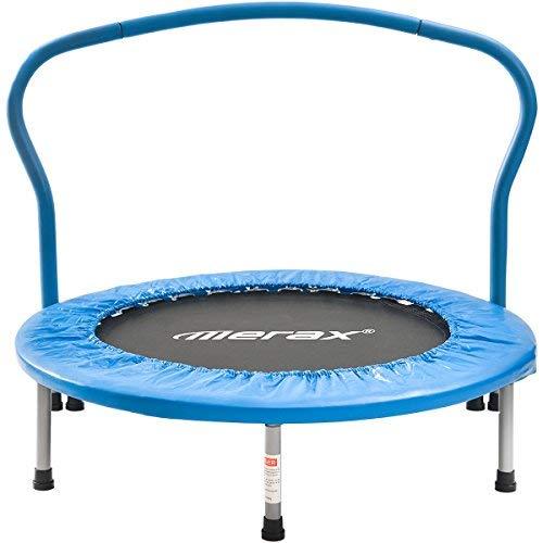Merax Fitness-Trampolin, Trampolin faltbar, Trampolin Kinder Indoor Fitness Klein Faltbar Klappbare Kindertrampolin TÜV-Geprüft Minitrampolin mit Haltegriff für Jumping Fitness bis 80kg (Blau)