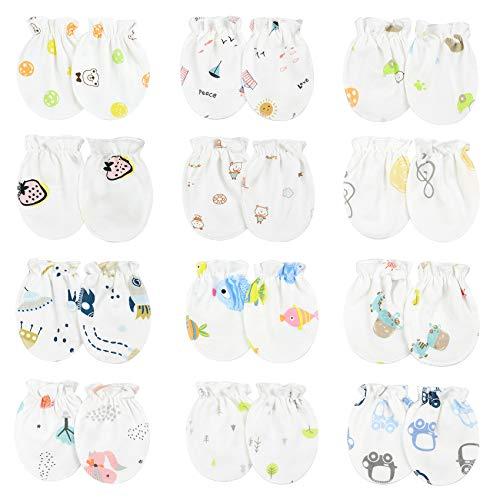Durio Baby Mittens Newborn Baby Cotton No Scratch Mittens Gloves for Baby Boys and Girls 0-12 Months Mixed Patterns