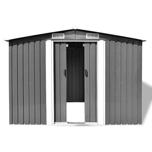 Tidyard Gartenschuppen Mit 4 Entlüftungsöffnungen,Mehrzweckschrank Gerätehäuser Geräteschrank Geräteschuppen Schrank Metall-Schuppen Garten-Schrank Verzinkter Stahl Grau
