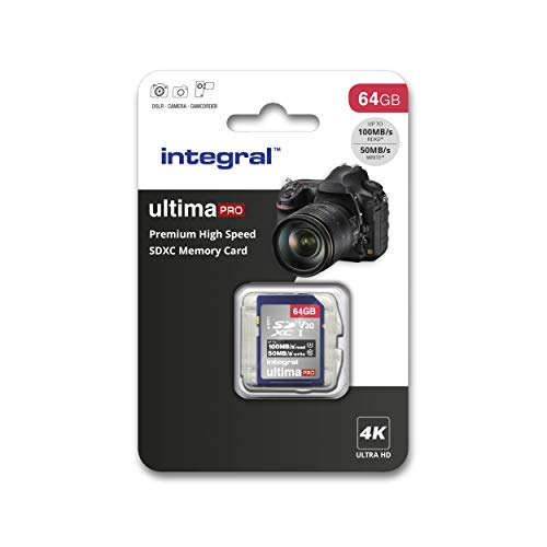 Integral SD-Karte 256 GB, Premium 4K, SDXC Schnellspeicherkarte bis zu 100 MB/s, V30, UHS-I, U3 64 GB 64 GB