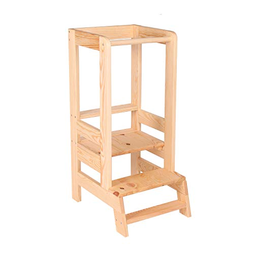 MeowBaby Torre di Apprendimento per Bambini in Legno Made in EU Montessori Learning Tower Naturale