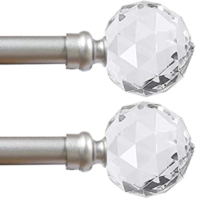 Turquoize Crystal Ball Finial Window Curtain Rod Set 66 Inch Extends to 120-Inch with Window Treatment Hardware, Faceted Crystal 3/4 - Inch Diamter Drapery Rod Set, 2 Pack, Nickel