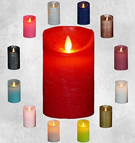LED Echtwachskerze Kerze viele Farben mit Timer flackender Docht Wachskerze Kerzen Batterie, Farbe:Rot, Größe:12.5 cm