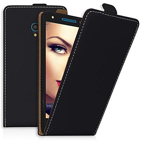 mtb more energy® Flip-Hülle Tasche für Alcatel U5 3G (4047D, 5.0'') - Schwarz - Kunstleder - Schutz-Tasche Cover Hülle