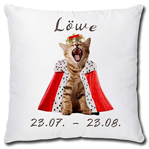 TRIOSK kussen kattenmotief sterrenbeeld leeuw decokussen grappig met kat cadeau voor kattenliefhebbers vrouwen meisjes kinderen sierkussen vulling 40x40 wit bont