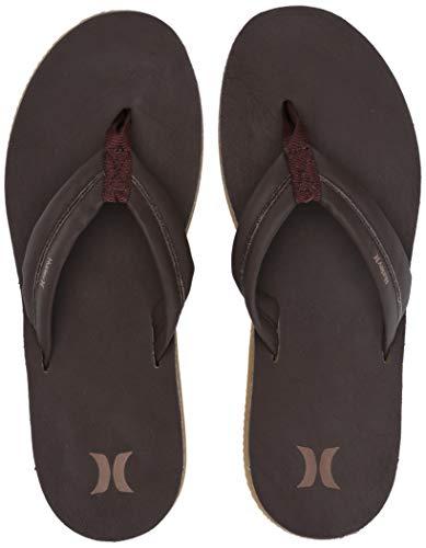 Hurley Men's Nike Lunarlon Lunar Leather Flip Flop Sandal Baroque Brown-Liz, 13 M US