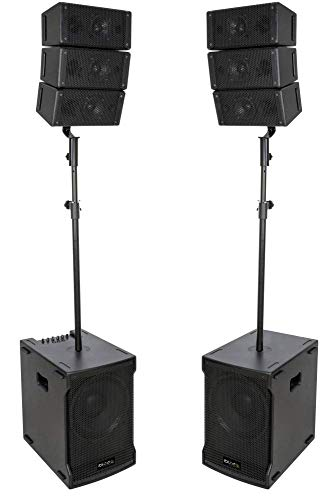 "IBIZA CUBE212A-ARRAY 2.2 LINE ARRAY Aktiv Lautsprecher Set 12\"" Subwoofer DJ Beschallungsanlage Club Disco Party USB/SD/BLUETOOTH/MP3 640 Watt RMS System"