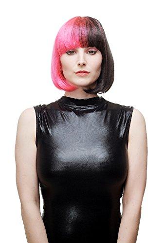 WIG ME UP - Perruque dame diable anarcho-sexy cosplay rose noir carré court lisse frange punk gothique SA066-TF2315H2
