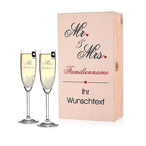 Herz & Heim® Leonardo 2 Sektgläser zur Hochzeit mit Gravur in Premium Verpackung