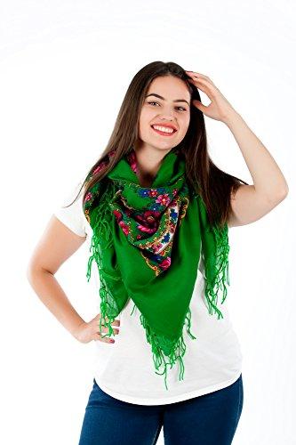 Große Stilvolles Schal-Tuch mit schönem,slawische Folklore Muster Winter 2016 Grün