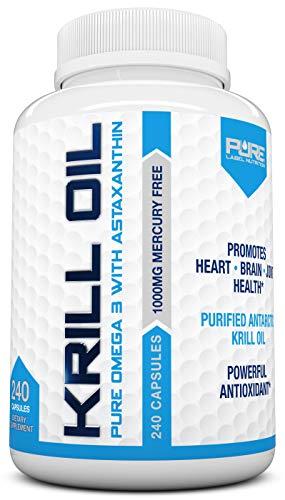 Pure Label Nutrition-Krill Oil 1000mg per Serving w/ Astaxanthin & Phospholipids, 240 caps, Omega 3 6 9 - EPA DHA, 100% Pure, Antarctic Wild Caught, No Mercury, GMO or Gluten *Contains NO Fish Oil*