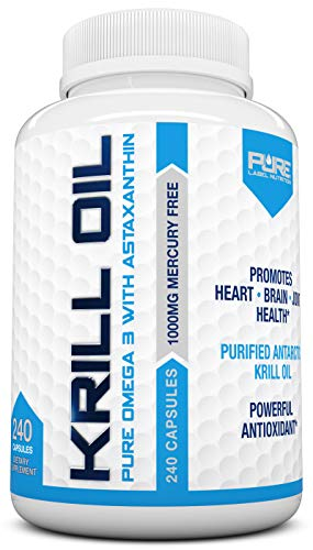Pure Label Nutrition-Krill Oil 1000mg per Serving w/ Astaxanthin & Phospholipids, 240 caps, Omega 3 6 9 - EPA DHA, 100% Pure, Antarctic Wild Caught, Free of Mercury, GMO and Gluten 120-day Supply